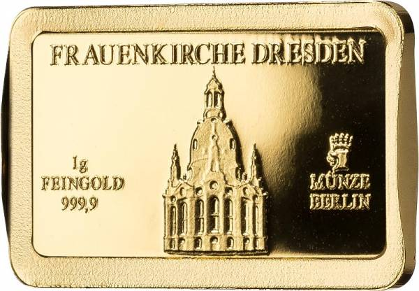1 Gramm Goldbarren Deutsche Wahrzeichen Frauenkirche Dresden