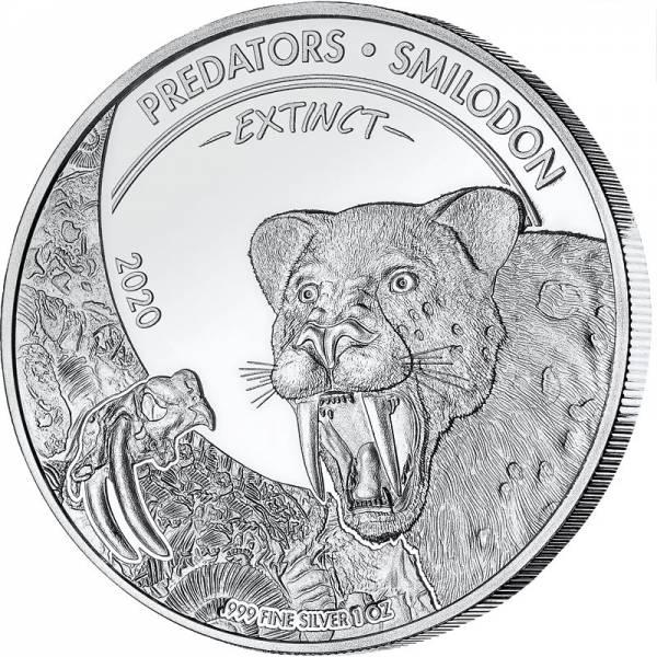 1 Unze Silber Kongo Predators Extinct Smilodon 2020