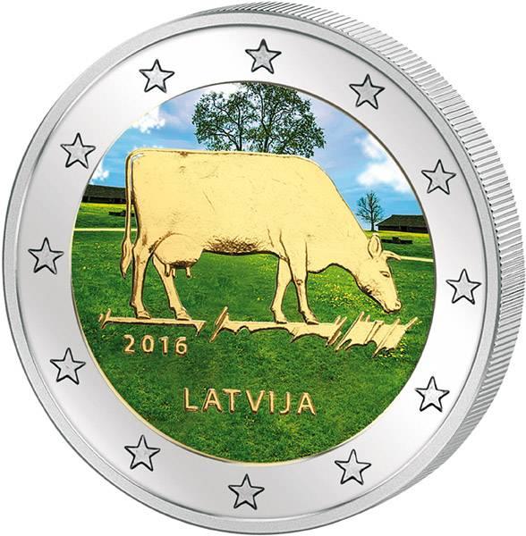 2 Euro Lettland Milchwirtschaft mit Farb-Applikation