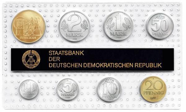 1 Pf-2 Mk (8 Werte) DDR Kursmünzensatz inkl. Gedenkprägung Strecken 1988 prägefrisch