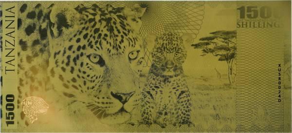 1.500 Shillings Tansania Goldbanknote Leopard 2018