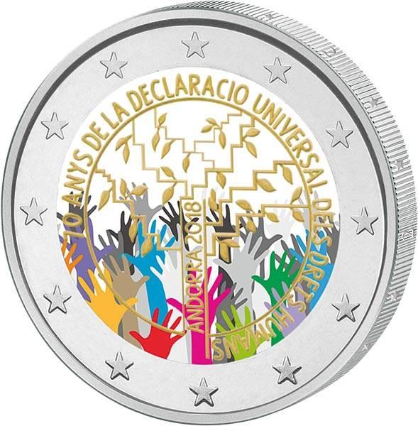 2 Euro Andorra 70. Jahrestag der Allgemeinen Deklaration der Menschenrechte mit Farb-Applikation 2018