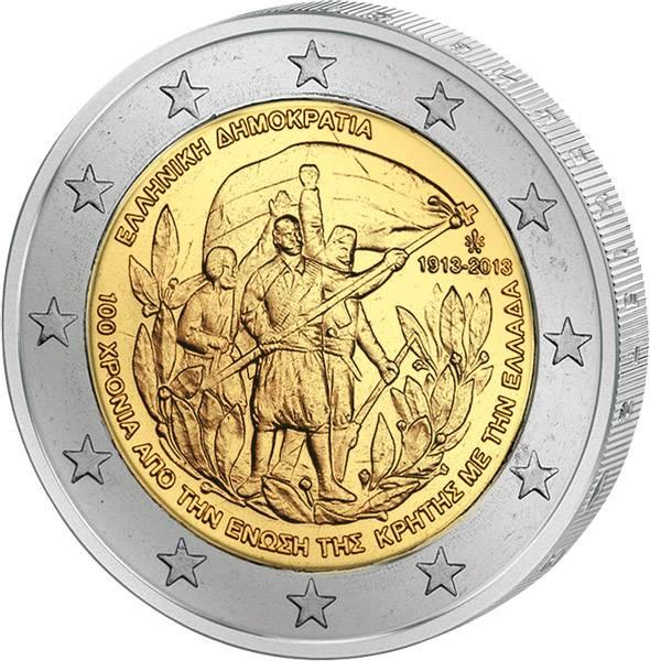 2 Euro Griechenland 100 Jahre Beitritt Kreta 2013 prägefrsich