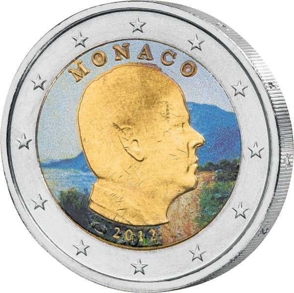 2 Euro Monaco mit Farb-Applikation Fürst Albert II. JuW
