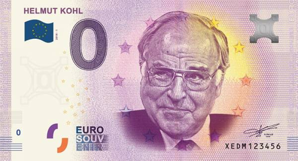 0-Euro-Banknote Helmut Kohl 2018