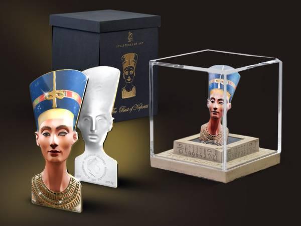25 Dollars Salomonen Münzskulptur die Büste der Nofretete 2013  Polierte Platte
