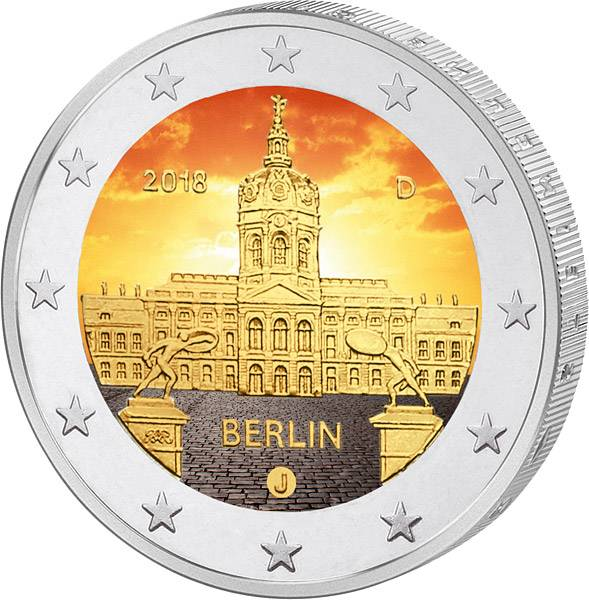 2 Euro BRD Schloss Charlottenburg 2018 mit Farb-Applikation