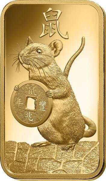 1 Gramm Goldbarren Jahr der Ratte