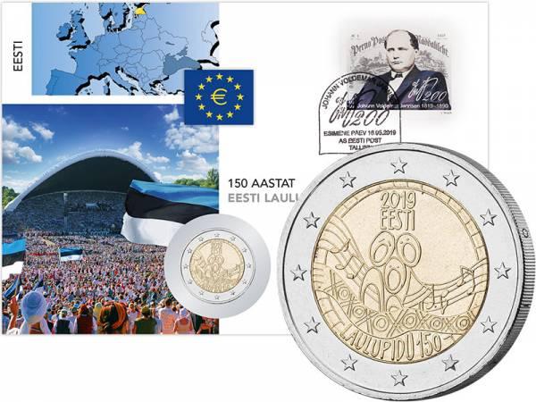 2 Euro Numisbrief Estland 150 Jahrestag Erstes estrisches Liederfestival 2019
