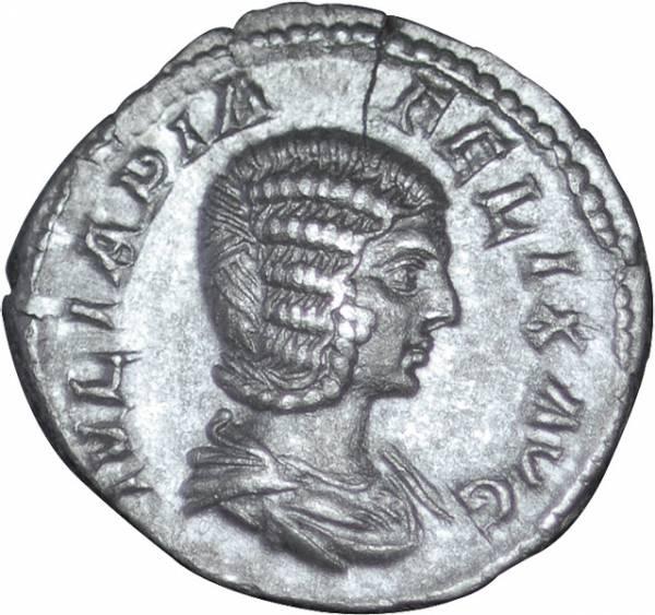 Denar Rom Julia Domna um 217 n.Chr. ss-vz
