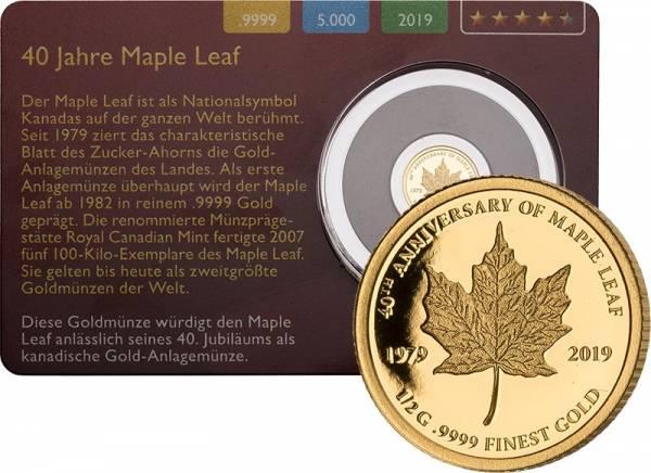1.000 Francs Gabun 40 Jahre Maple Leaf Gold Coin Card 2019