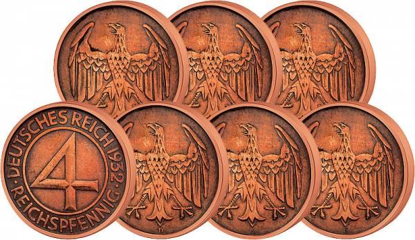 6 x 4 Reichspfennig Prägestättensatz Brüning-Taler 1932 Weimarer Republik ss-vz