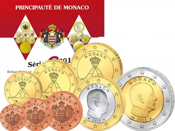 Euro Kursmünzensatz Monaco 2013 inklusive 2-Euro-Gedenkmünze