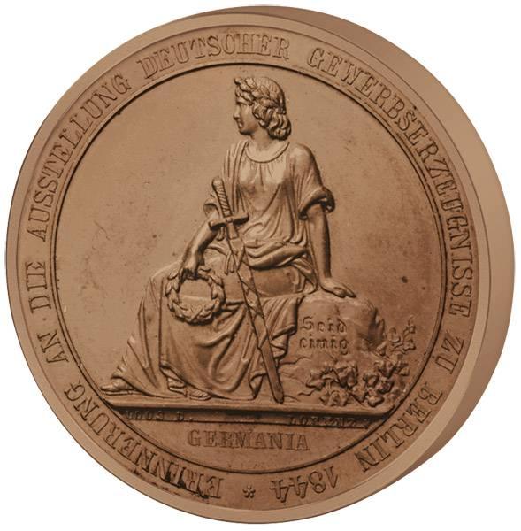 Gedenkmedaille Hoch-Relief Gewerbeausstellung Berlin 1844 vz-st