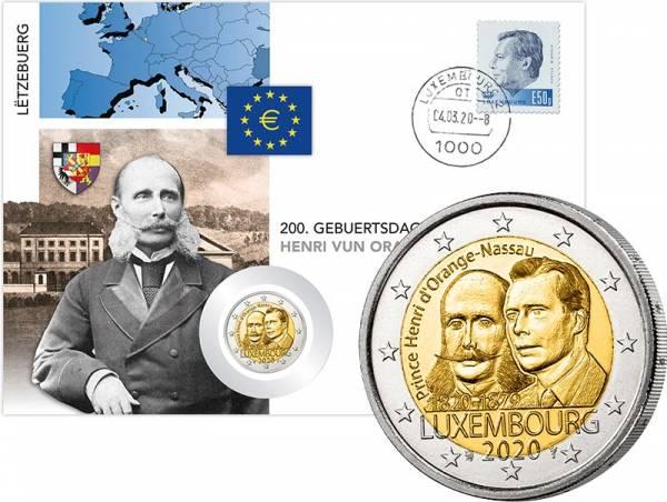 2 Euro Numisbrief Luxemburg 200. Geburtstag von Prinz Heinrich von Oranien-Nassau 2019