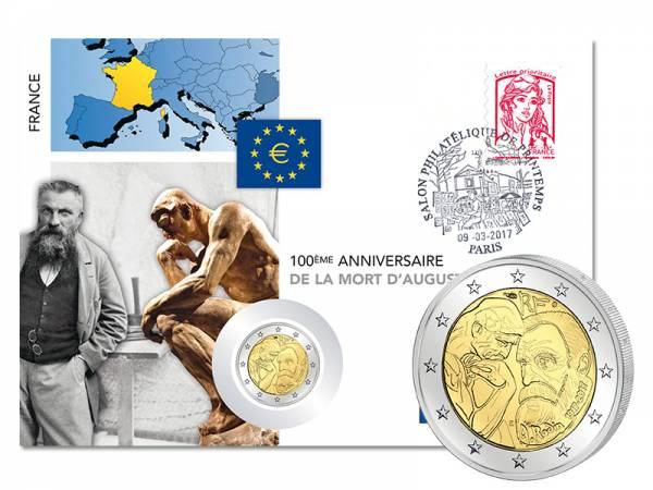 2 Euro Numisbrief Frankreich 100. Todestag Auguste Rodin 2017