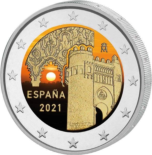 2 Euro Spanien Altstadt von Toledo 2021 mit Farb-Applikation