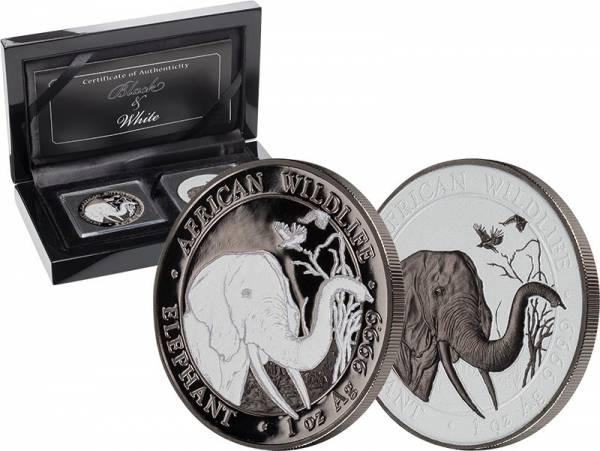 2 x 100 Shillings Somalia Schwarz-Weiß-Set Elefant 2018