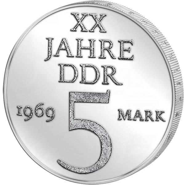 5 Mark 20 Jahre DDR -Probe- 1969 A Stempelglanz