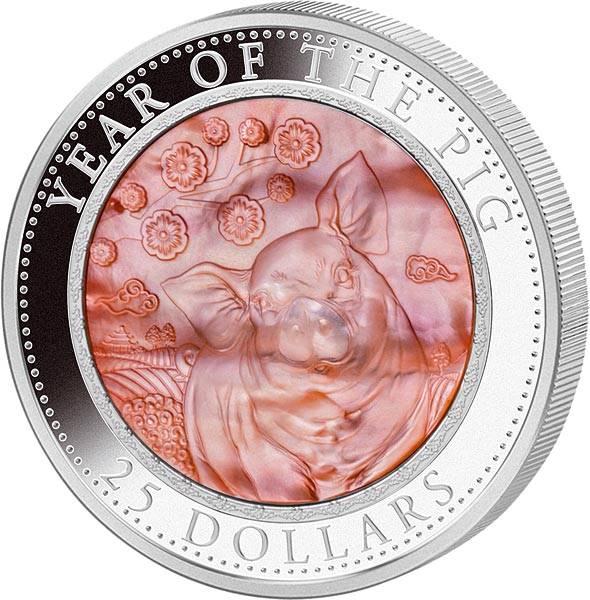 25 Dollars Cook-Inseln Perlmutt-Reliefmünze Jahr des Schweins 2019