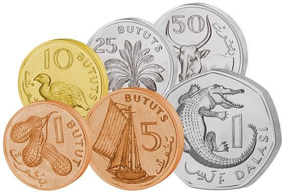 1 Bututs - 1 Dalasis Kursmünzen Gambia 1998-2014