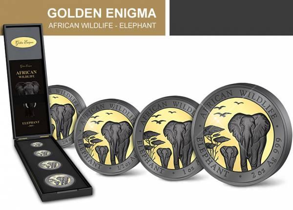 1/4 - 2 Unzen Somalia African Wildlife Elefant 2015 Golden Enigma Edition - FOTOMUSTER