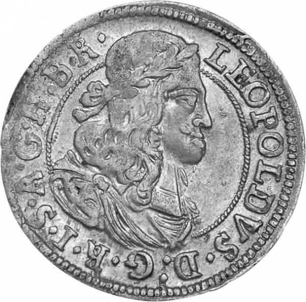 3 Kreuzer  Kaiser  Leopold I., Kopfbild 1657-1705  Sehr schön