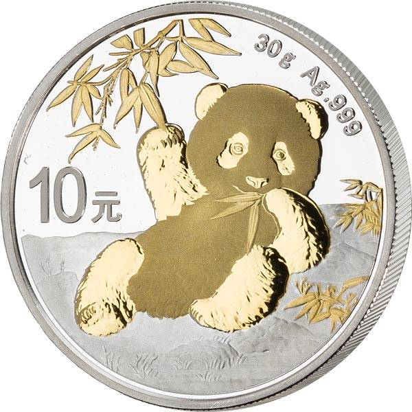 10 Yuan China Panda 2020 mit Goldapplikation