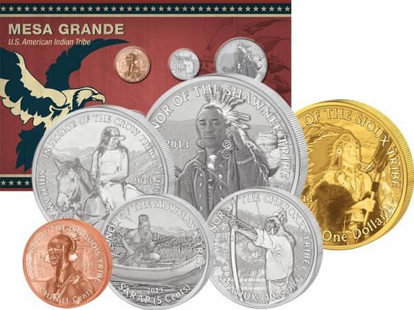 1 Cent - 1 Dollar USA Kursmünzen der Mesa Grande 2013