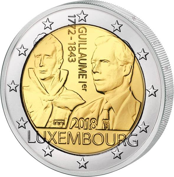 2 Euro Luxemburg 175. Todestag Großherzog Guillaume I. 2018