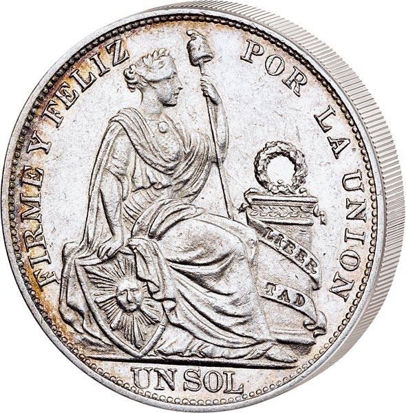 1 Sol Peru sitzende Liberty 1869
