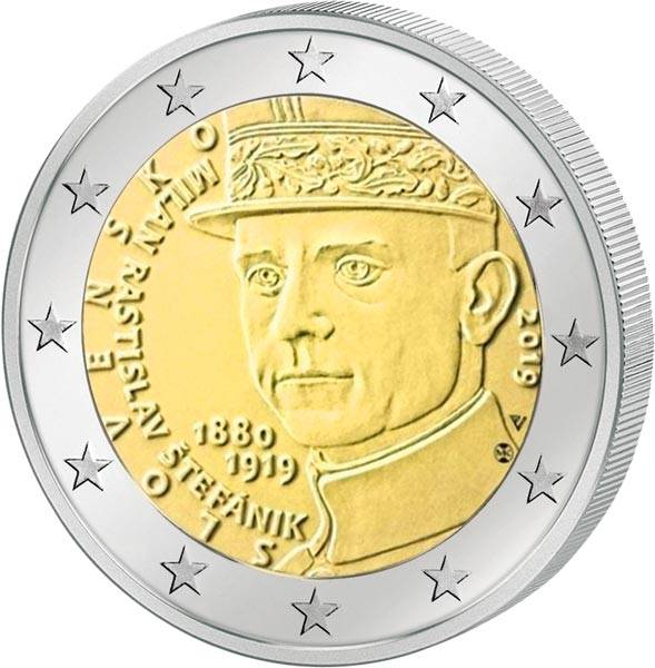 2 Euro Slowakei 100. Todestag von Milan Rastislav Stefanik 2019