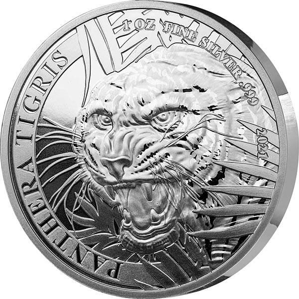 1 Unze Silber Laos Tiger 2021