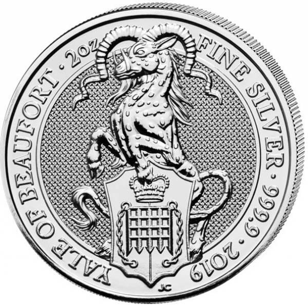 2 Unzen Silber Großbritannien Queens Beasts Yale von Beaufort 2019