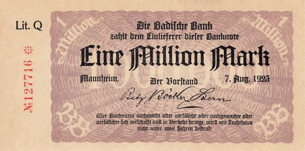 1 Million Mark Länderbanknote der Badischen Bank