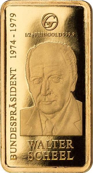 0,5 Gramm Goldbarren Walter Scheel