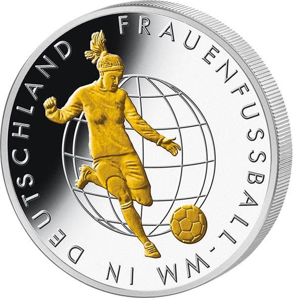 10 Euro BRD Frauenfußball-WM mit Gold-Applikation 2011 Polierte Platte