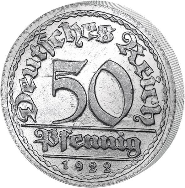 50 Pfennig Weimarer Republik Ähren 1919-1922 Vorzüglich