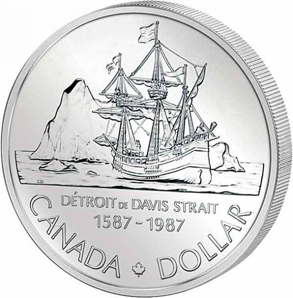1 Dollar Silberdollar Davis Polarschiff  1987  Polierte Platte