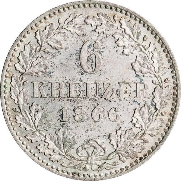 6 Kreuzer Freie Reichsstadt Frankfurt 1866