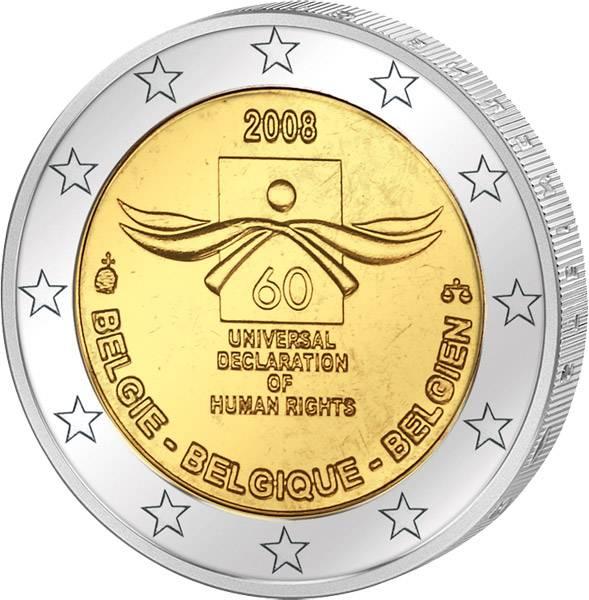 2 Euro Belgien 60 Jahre Menschenrechte 2008 prägefrisch