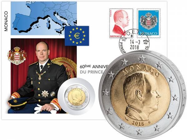 2 Euro Numisbrief Monaco 60. Geburtstag von Fürst Albert II. 2018