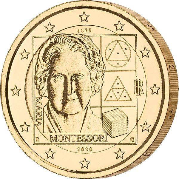 2 Euro Italien 150. Geburtstag von Maria Montessori 2020 vollvergoldet