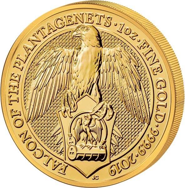 1 Unze Gold Großbritannien Queens Beasts Falke der Plantagenets 2019