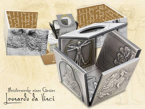 25 Dollars Niue Würfelmünze Leonardo da Vinci 2015 Antik-Finish