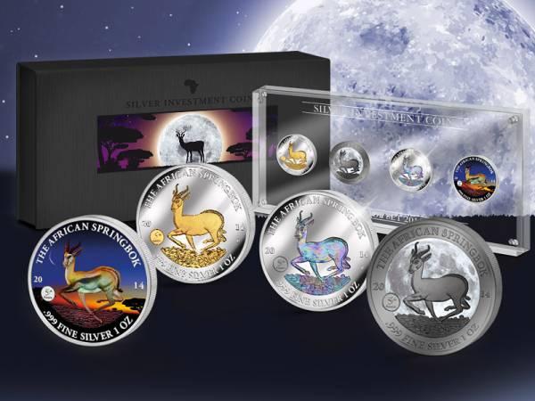 Silver Investment Coin Prestige-Set Springbock 2014 - FOTOMUSTER