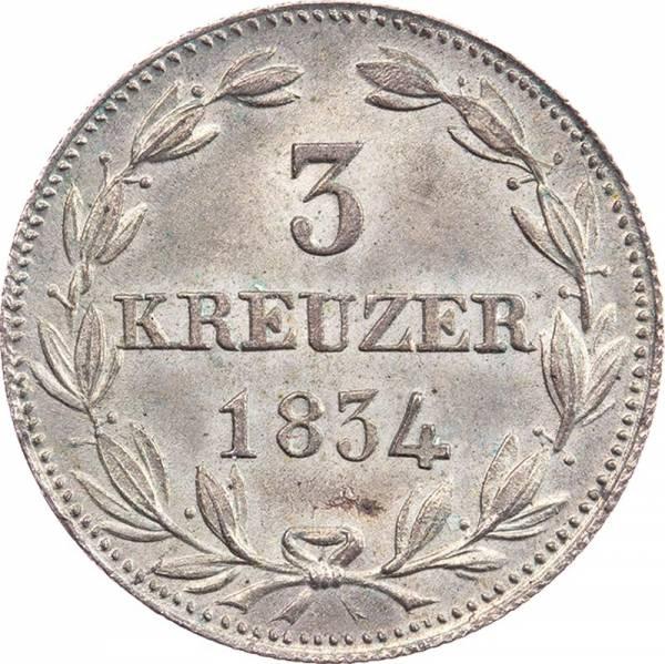 3 Kreuzer Nassau Herzog Wilhelm 1831 - 1834 und 1836