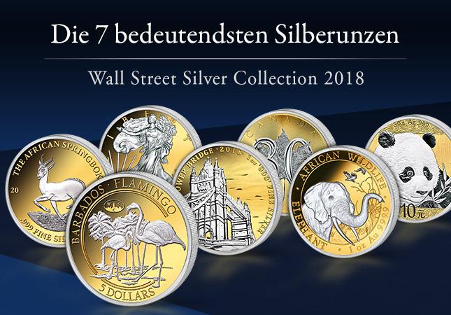 Die 7 bedeutendsten Silberunzen - Wall Street Silver Collection 2018