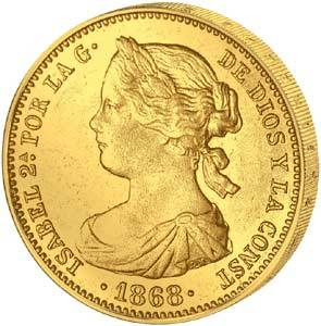 10 Escudos Spanien Königin Isabella II.