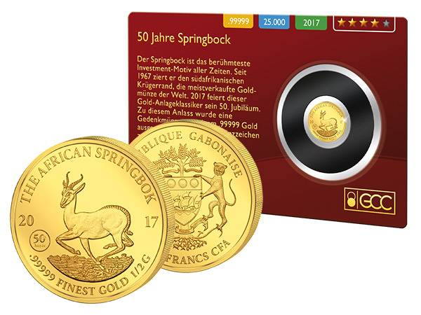 1.000 Francs Gabun Springbock Gold Coin Card 2017
